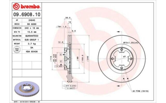 BREMBO Juego de 2 discos freno 240mm ventilado SUBARU JUSTY 09.6908.10