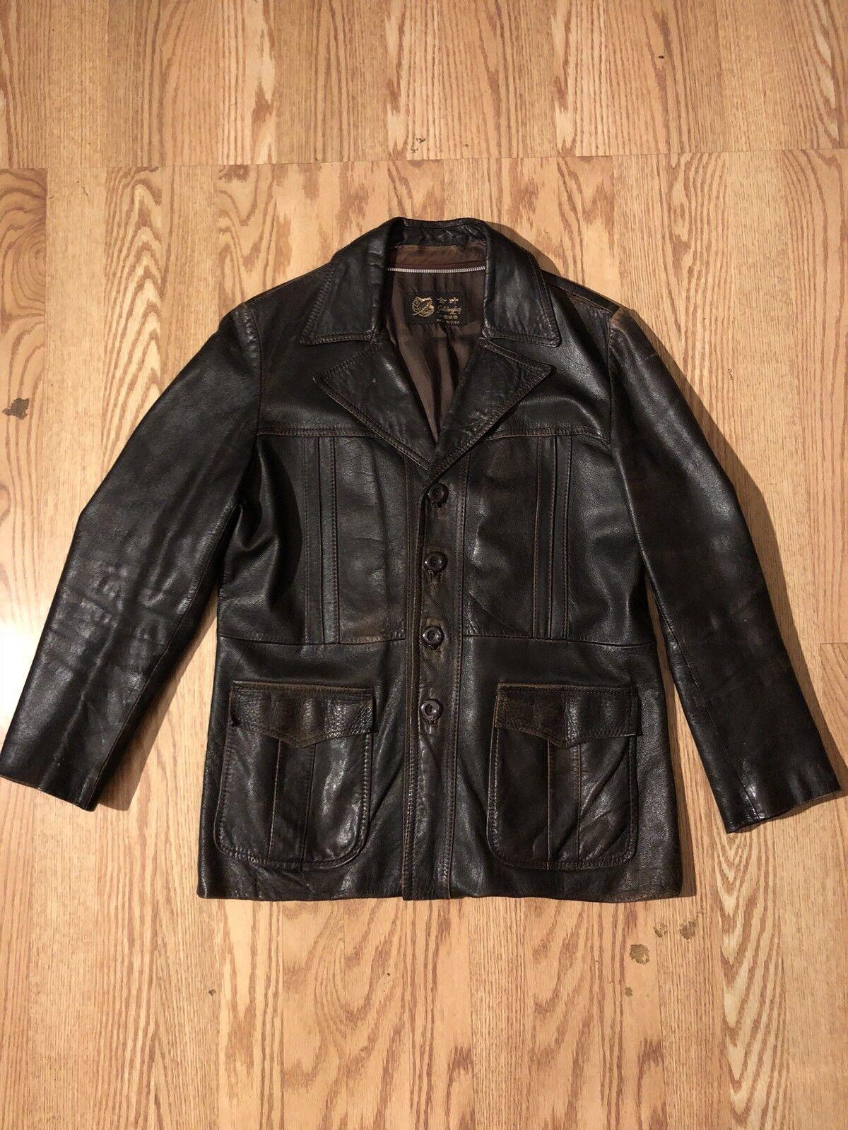 07aee4815a7f Golden Leaf Vintage Vintage Vintage braun Leather Jacket 900a13 ...