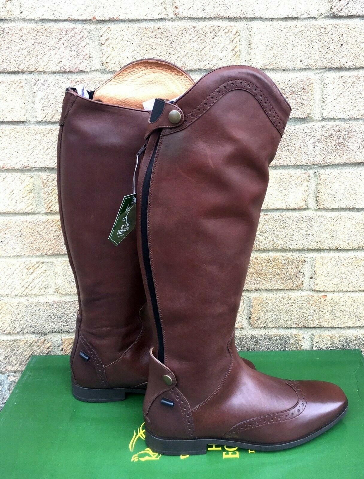 New HM Equipe Riding Boots Vega LEATHER Boots STD CALF BROWN RRP