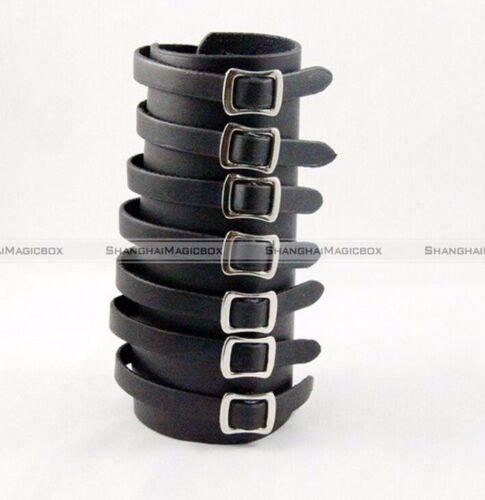 7 Buckles Black Leather Bracer Arm Armor Cuff Punk Gothic Cosplay
