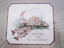 Janlynn Counted Cross Stitch Kit Fishing Good Things Trout Outdoors Fishermen