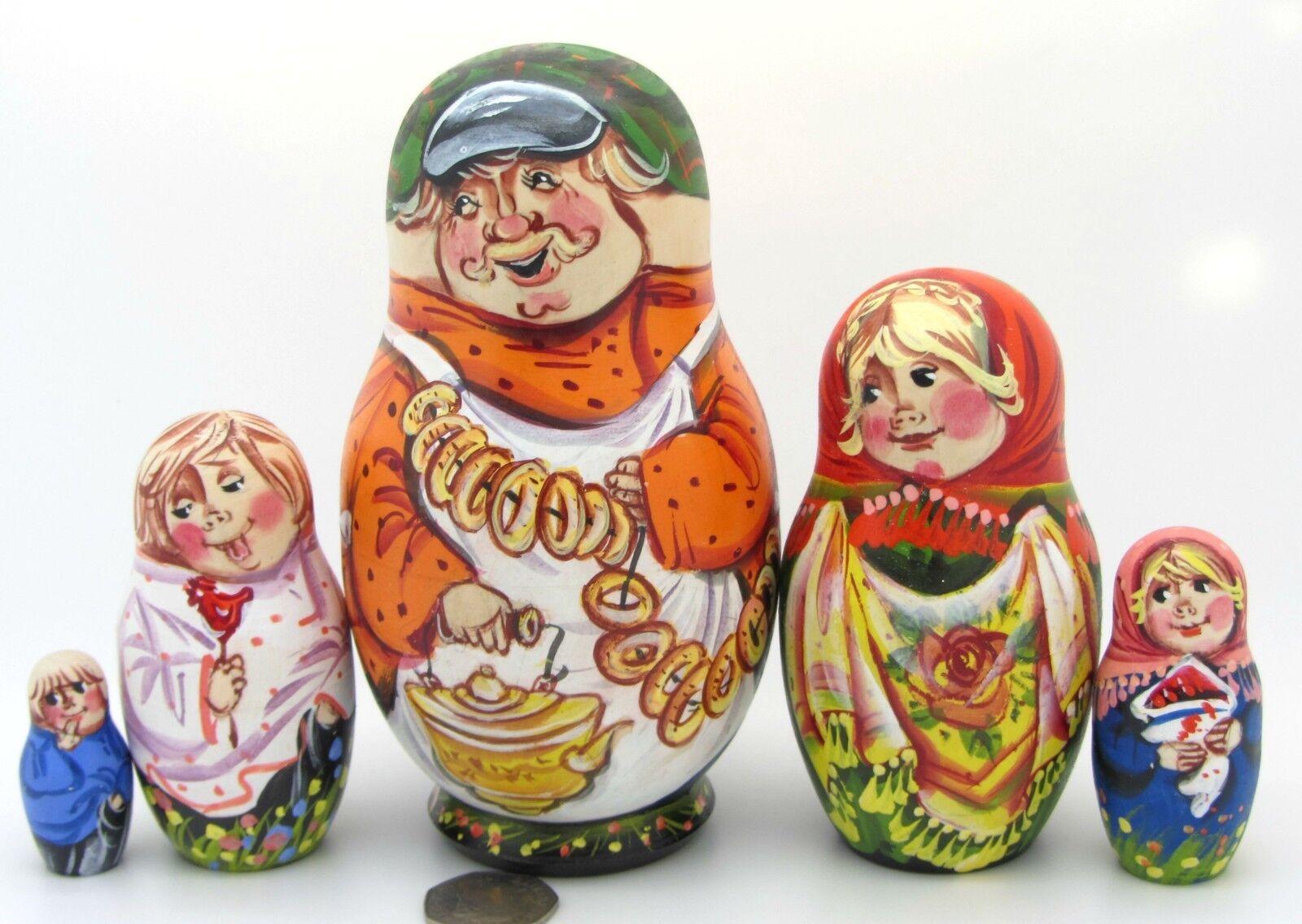 Russische Matrjoschkapuppen 5 Handbemalt Matt Dorf Fete Matryoshka Sergeyeva