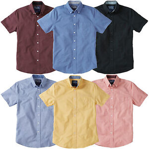 Charles-Wilson-Men-039-s-Cotton-Short-Sleeve-Laundered-Oxford-Casual-Shirt-New-2016