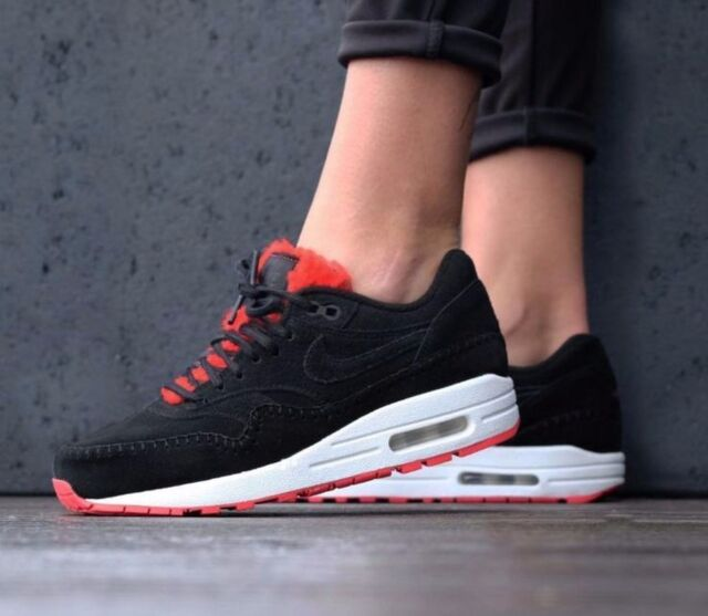 Nike Air Max 1 Premium Women's Sz 10 Shoe 454746 010 SUEDE FUR BLACK ACTION RED
