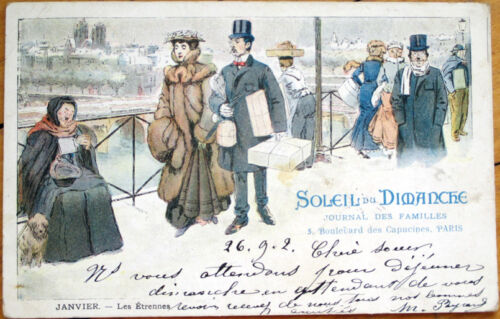 1902 French Advertising Postcard Journal des FamillesParisWellDressed People