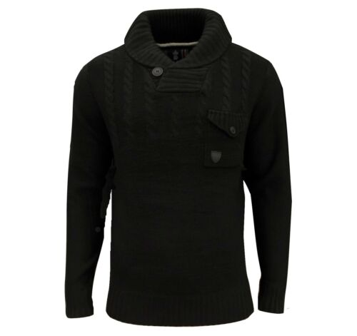 Soul Star Men/'s Chatsworth Shawl Neck Cable Jumper Black
