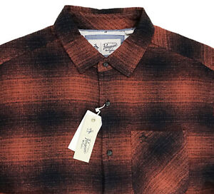 Men-039-s-PENGUIN-Rust-Blue-Abstract-Geometric-Flannel-Shirt-M-Medium-NWT-NEW-WoW