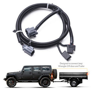 mictuning 65 trailer hitch wiring harness kit 4 way 07 17 jeep rh ebay com 2018 jeep grand cherokee trailer hitch wiring harness 2013 jeep wrangler trailer hitch wiring harness