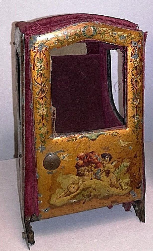 Antiguos francés 1900 fabuloso Sedan silla pocketwatch titular Muñeca Caja Miniatur