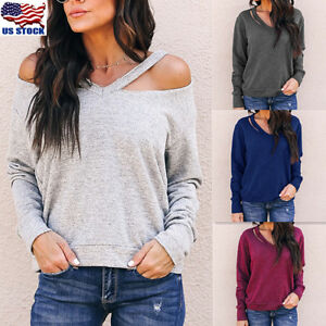 c28e8a76f3ff Women's Long Sleeve Cut Out Knitted Knitwear Pullover Sweater Jumper ...