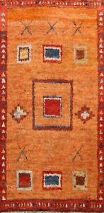 Thick-Plush-Geometric-Orange-Moroccan-Oriental-Area-Rug-Hand-knotted-Wool-6x9-ft