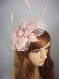 Image is loading Pale-Pink-Sinamay-Corsage-amp-Ruffle-Fascinator-Occasion- fc21399d486
