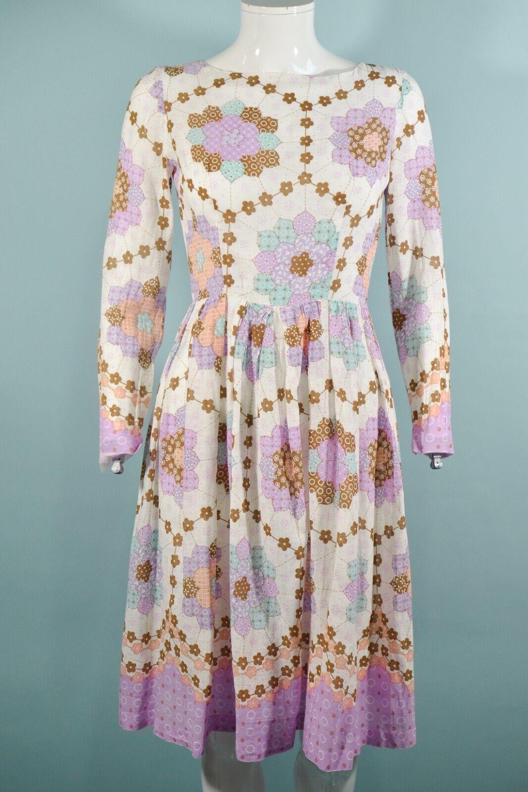 Vintage 60s/70s Faux Patchwork Hippie Dress, Cott… - image 6
