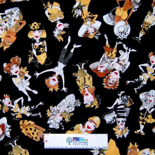Bee Happy Fabric - Woman Character Toss Black Yellow - Loralie Designs YARD