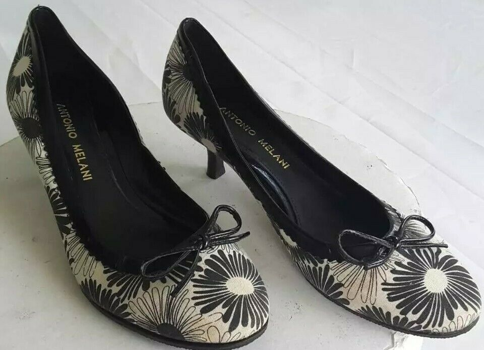 Antonio Melani Womens Classic Pump Kitten Heels Shoes Black Floral Leather 5.5 M