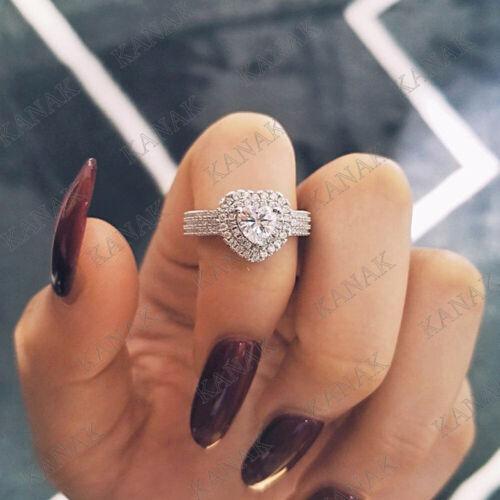 Women/'s Engagement Wedding Ring 2.50 Ct Diamond Heart Shape 14K White Gold Over