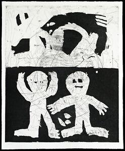 Kunst-in-der-DDR-1986-Grosse-Radierung-von-Udo-LENKISCH-1951-D-handsigniert