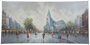 "1987 Paris Impressionist Street Scene Cityscape Oil Painting Antonio Devity 48"""
