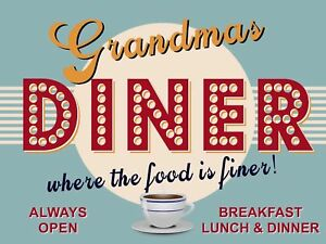 Details About Grandma S Diner Poster Metal Tin Signs Retro Plate Kitchen Wall Decor
