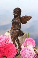 Kantenhocker Elfe Aus Gusseisen Deco Garten Braun Skulptur Figur Metall