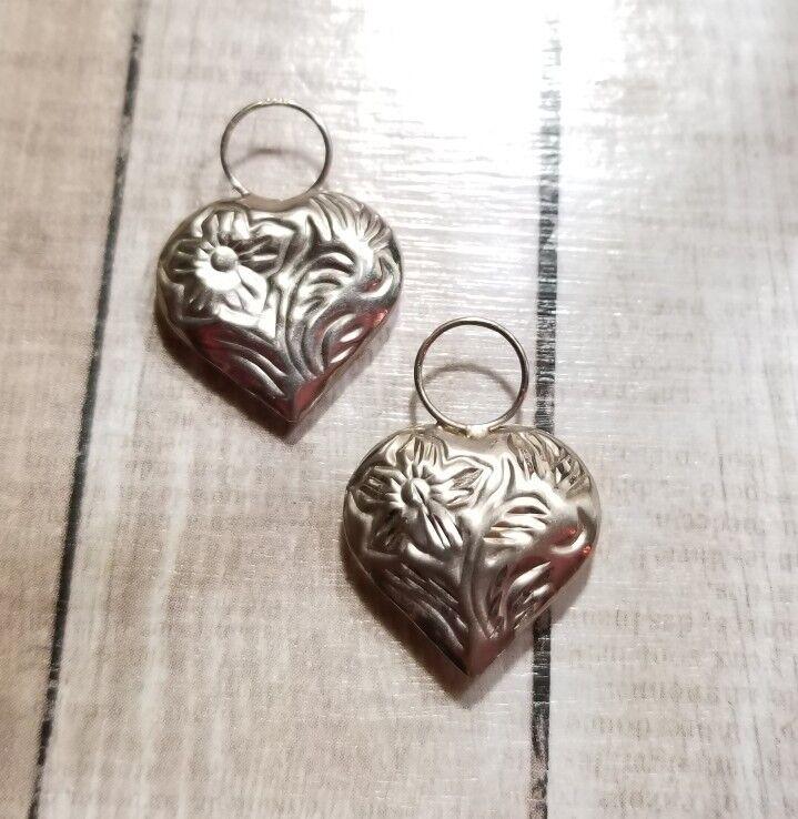 Ross Simons 14k White gold puffy heart shiney & matte charms for hoop earrings
