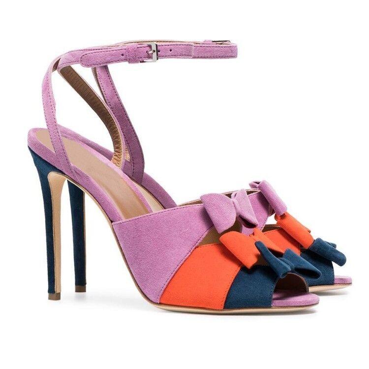 clienti prima reputazione prima Donna  Suede Suede Suede Bowknot Slingback Stilettos High Heels Peep Toe Stage scarpe Y991  prezzo basso