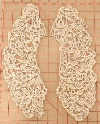 """Pair of off white beaded lace appliques flowers leaves design sequins pearls 14"""""""