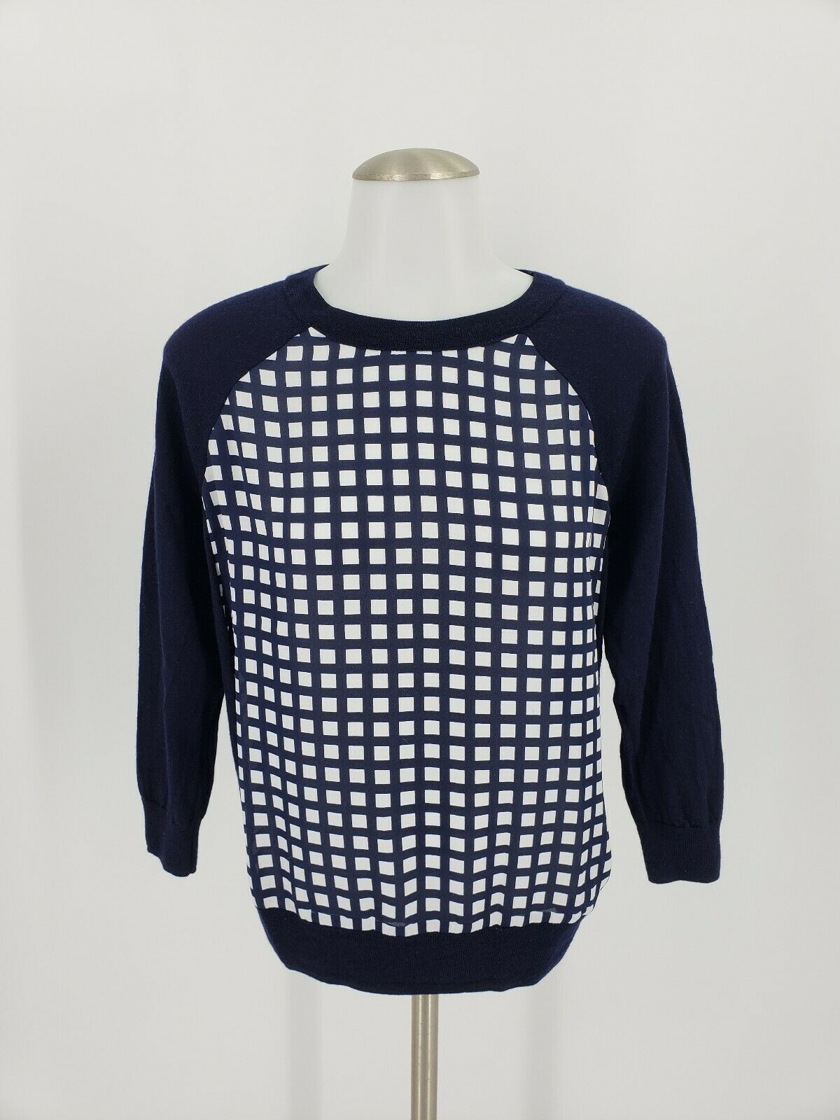 Women's J Crew Small Navy bluee Box Print Wool Sweater
