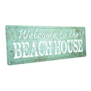 Details About Welcome To Our Beach House Metal Sign Decor For Or Coastal Home