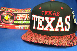 Texas-Black-Red-Snake-Skin-Flat-Rimmed-Snapback-Sports-Cap-Hat-Piranha