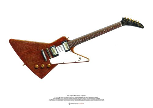 The Edge's 1976 Gibson Explorer ART POSTER A2 size
