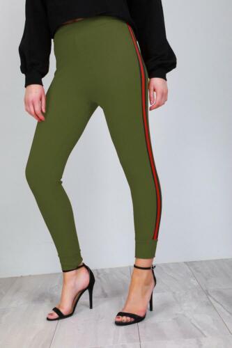 Donna vita alta fianco a righe Skinny Fit Jogger Pantaloni Elastici Pantaloni