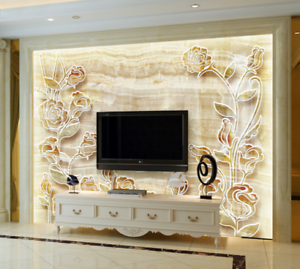 3D Marble Flowers 754 Wall Paper Murals Wall Print Wall Wallpaper Mural AU Kyra