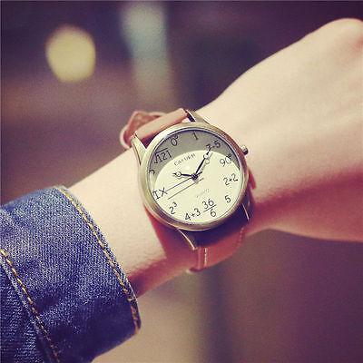 1X Korean Retro Unisex Mathematics Math Dial Analog Quartz PU Leather Wristwatch