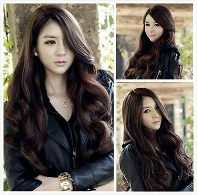 Fashion Woman Long Curly Wavy Costume Full Party Wigs Natural Brown Wig Hair C7