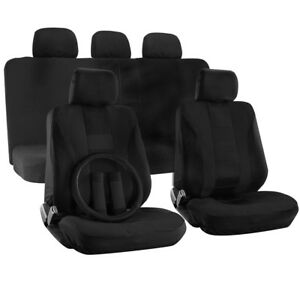 Car Seat Cover for Dodge Charger Black Steering Wheel/Belt Pad/Head Rest H Style