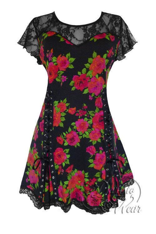 Dare To Wear Gothic Pin Up Rockabilly Retro Plus Roxanne Corset Top Rosa schwarz
