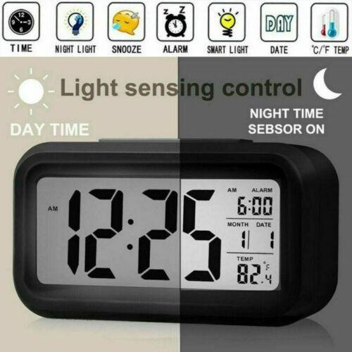 Holz LED Digital Wecker Tischuhr Uhr Kabellos Thermometer Kalender Alarm Snooze