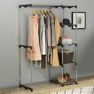 double rod freestanding portable clothes wardrobe closet organizer storage rack ebay. Black Bedroom Furniture Sets. Home Design Ideas