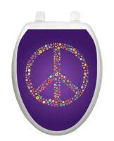 Toilet Tattoos Purple Peace Lid Cover Decor Reusable Vinyl