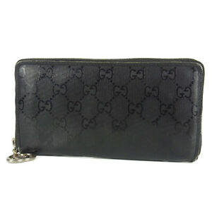 Auth-GUCCI-GG-Implement-PVC-Leather-Bifold-Long-Round-Zipper-Wallet-16808b