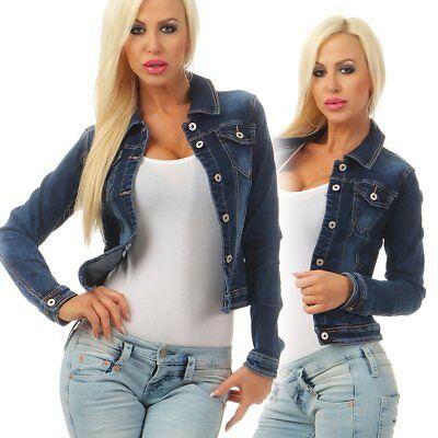 Fashion4Young 5673 Damen Jeansjacke Damenjacke Jeans Jacke