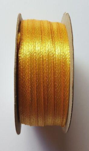 3mm 16mm o 25mm Cinta De Raso Doble Cara Carrete Completo De Oro Brillante Ancho 10mm