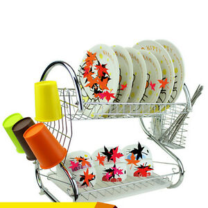 Kitchen-Storage-2-Tiers-Dish-Cup-Drying-Rack-Holder-Organizer-Drainer-Dryer-Tray