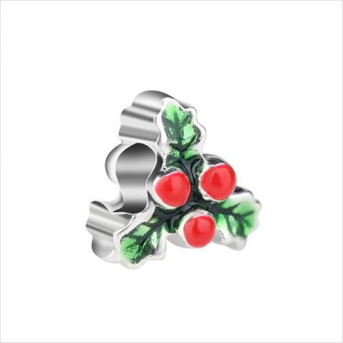 European 925 Silver CZ leaf Charm Beads Pendant Fit Bracelet Necklace Chain