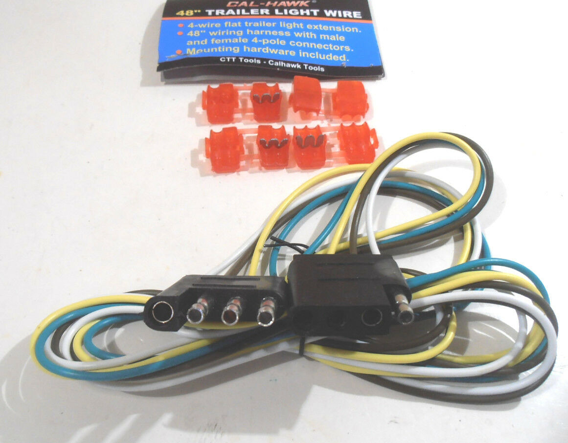 48 Trailer Light 4 Way Wire Harness Extension Flat Connector Wiring Mounting Hardware Ebay