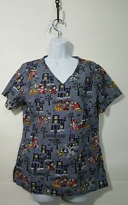 77ad146774c Disney Scrubs Top Uniform size XS Halloween gray Mickey Minnie Pluto ...