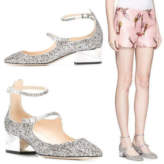 Donna Sequins Bling Bling Straps Buckle Chunky Mid Heel Shoes Pumps Square Toe