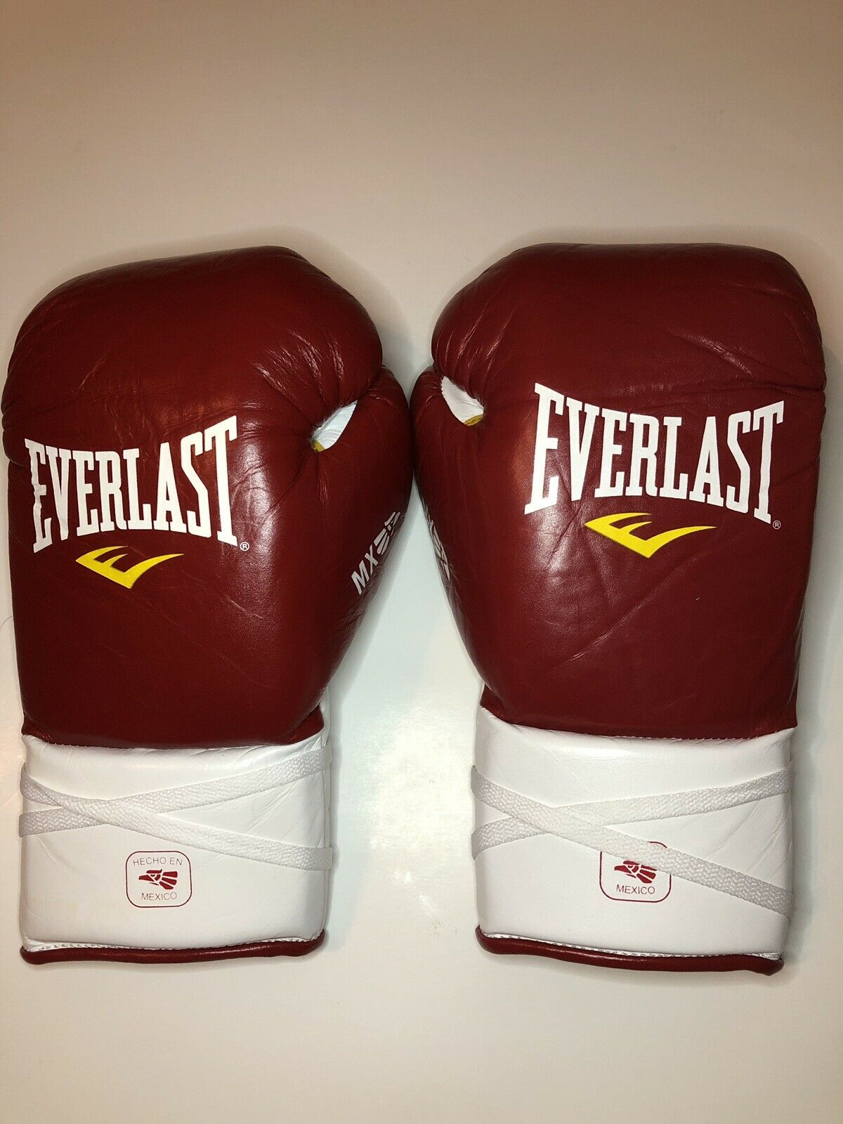 Boxing Gloves Everlast 10OZ Leather Mexico MX Laced Fight Gloves Red