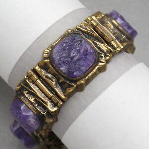 Vtg-Signed-Pentti-Sarpaneva-Finland-Brutalist-Modernist-Bronze-Amethyst-Bracelet